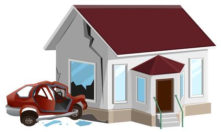 Car crash into home DUI